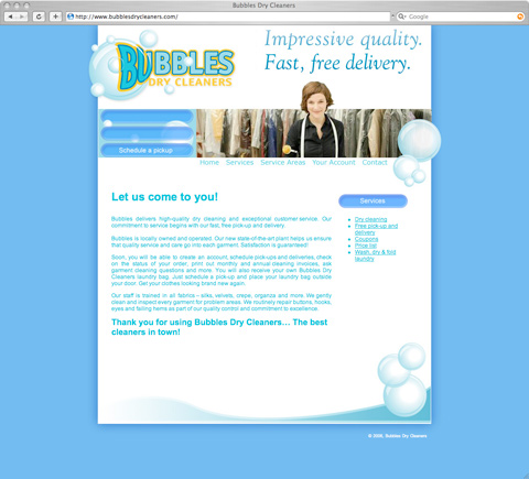 Bubbles Dry Cleaning Website Screenshot