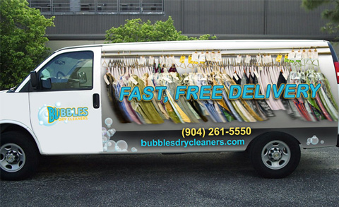 Bubbles Dry Cleaning Van Backside