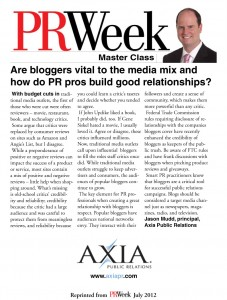 PR Week Master Class Jason Mudd - How important are bloggers to PR mix