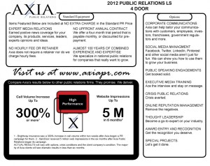 How Much Does Public Relations Cost Window Sticker