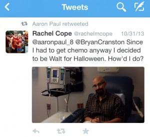 Aaron Paul's retweet of Rachel's post. Image courtesy of Twitter and Aaron Paul.
