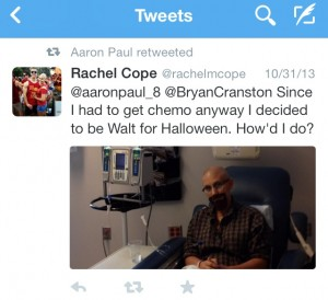Aaron Paul's retweet of Rachel's post. Image courtesy of Twitter and Aaron Paul.