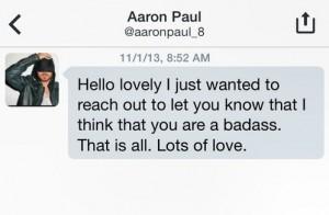 Aaron Paul's Direct Message to Rachel. Image courtesy of Twitter and Rachel Cope.
