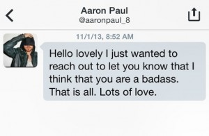 Aaron Paul's Direct Message to Rachel. Image courtesy of Twitter and Rachel Cope.