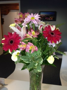 Flowers from a client recognizing great work