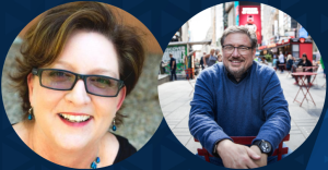 On Top of PR podcast: Brands and the economic climate with guests Susan Baier and Drew McLellan and show host Jason Mudd episode graphic