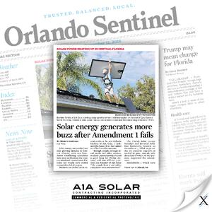 A news clip showing Axia's success with A1A Solar.