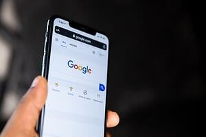 A smartphone showing Google's front page.