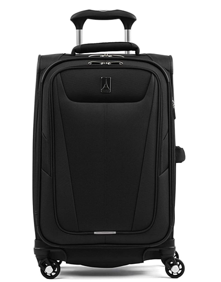 A black carry on suitcase