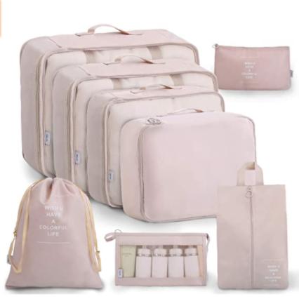 A pink luggage organizer