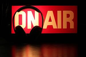 An on air sign for a podcast.