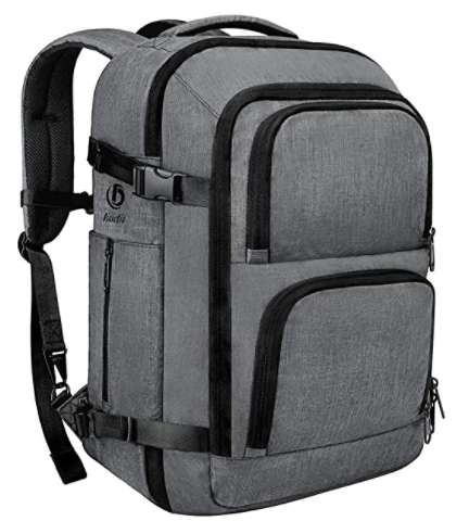 A gray travel size backpack