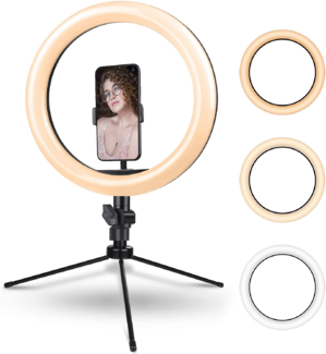 A ring light with stand.