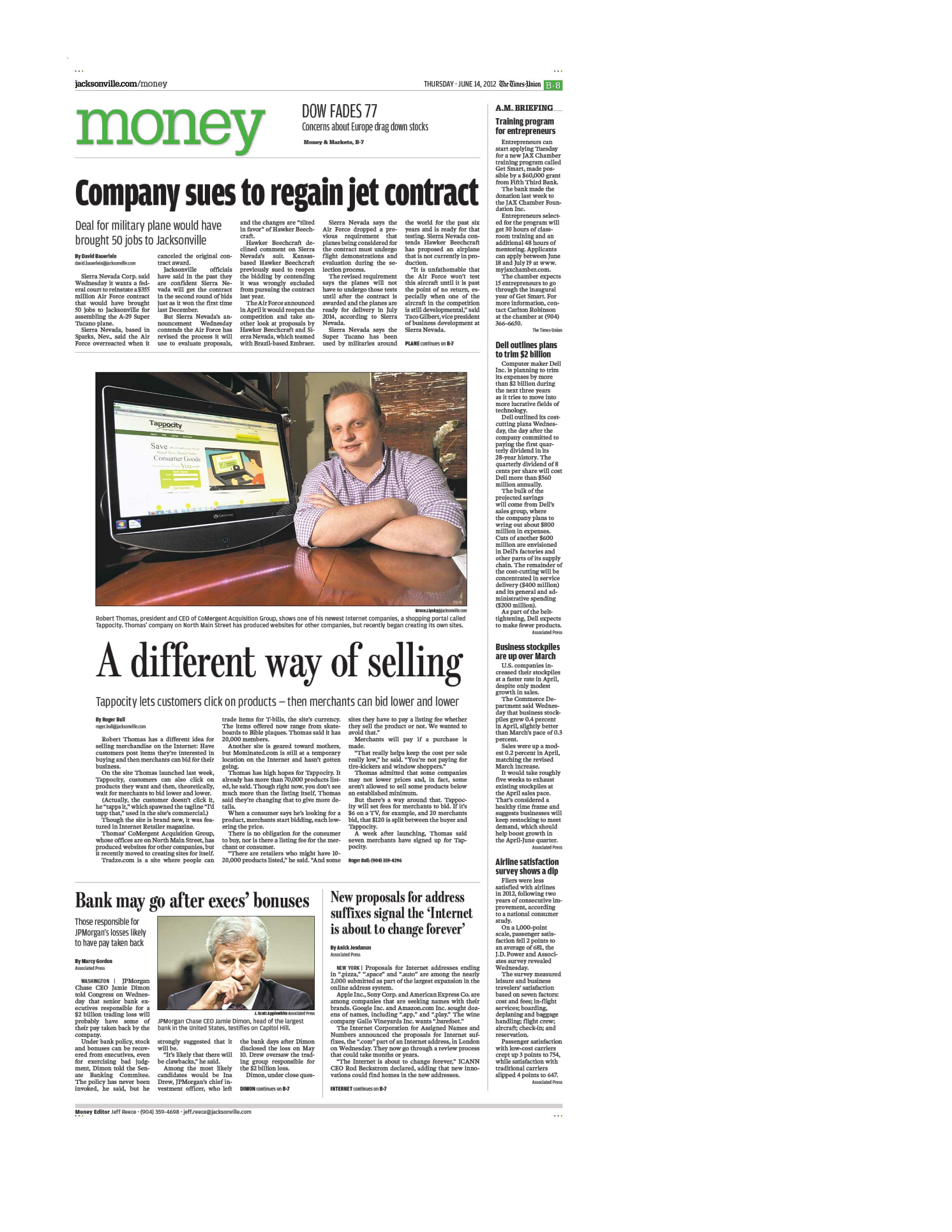 Tappocity's front page article in The Florida Times Union's business section.